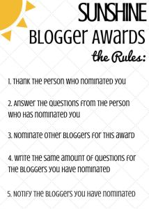 Sunshine blogger award rules